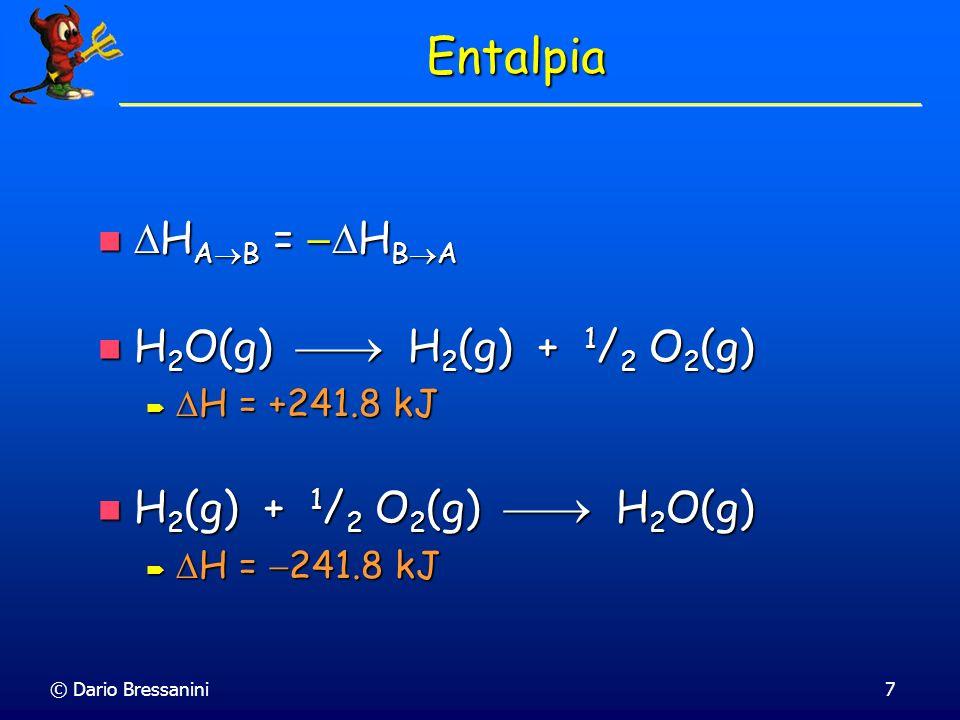 © Dario Bressanini Entalpie di Reazione Invertendo la reazione, il H si inverte di segno Invertendo la reazione, il H si inverte di segno CO 2 (g) + 2 H 2 O(g) CH 4 (g) + 2 O 2 (g) H = +802 kJ CO 2 (g) + 2 H 2 O(g) CH 4 (g) + 2 O 2 (g) H = +802 kJ H = +802 kJ H = +802 kJ H CH 4 (g) + 2 O 2 (g) CO 2 (g) + 2 H 2 O(g) H2H2H2H2 H1H1H1H1