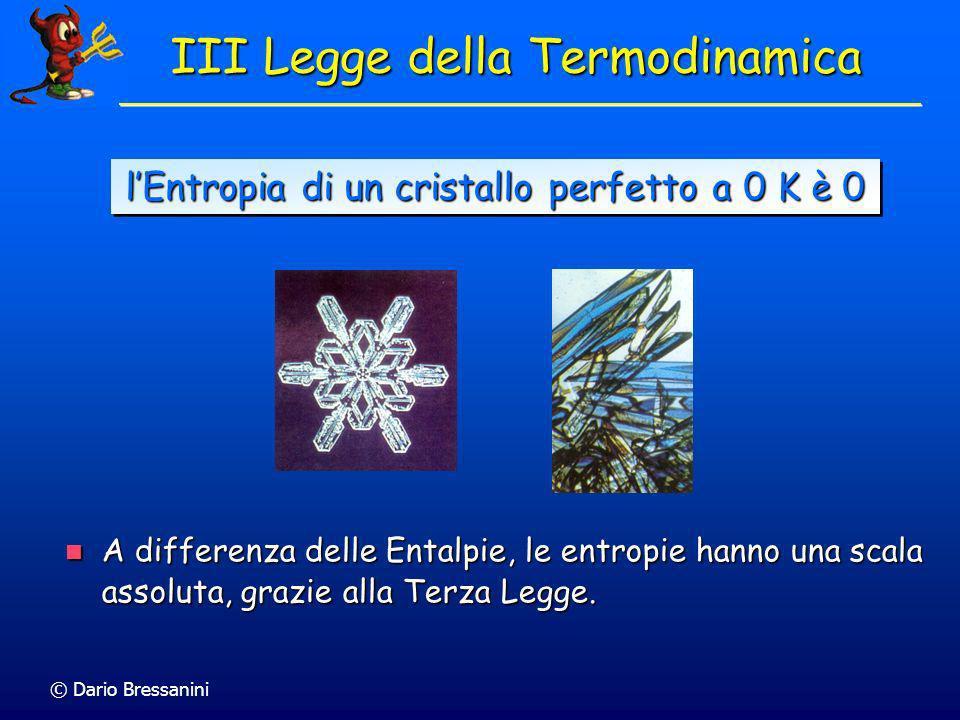 © Dario Bressanini S(T=0) Per T = 0, tutto il moto termico si è smorzato, e in cristallo perfetto gli atomi o gli ioni formano un reticolo regolare ed