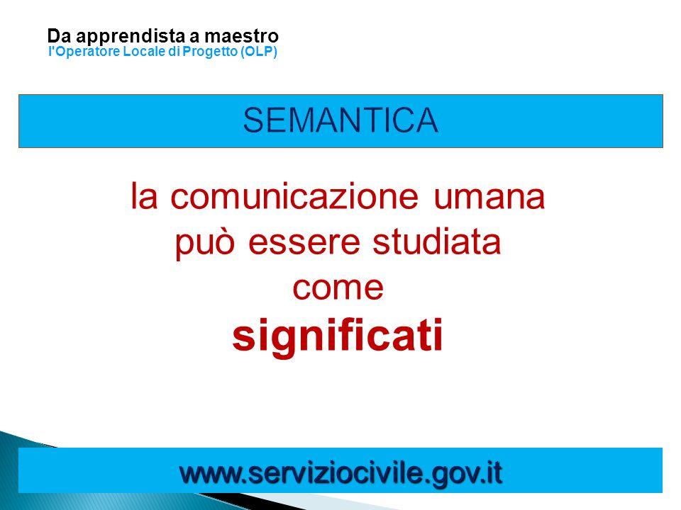 la comunicazione umana può essere studiata come significati www.serviziocivile.gov.it Da apprendista a maestro l'Operatore Locale di Progetto (OLP)