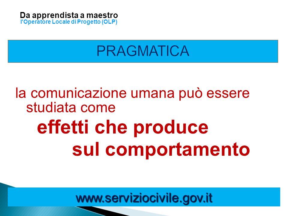 la comunicazione umana può essere studiata come effetti che produce sul comportamento www.serviziocivile.gov.it Da apprendista a maestro l'Operatore L