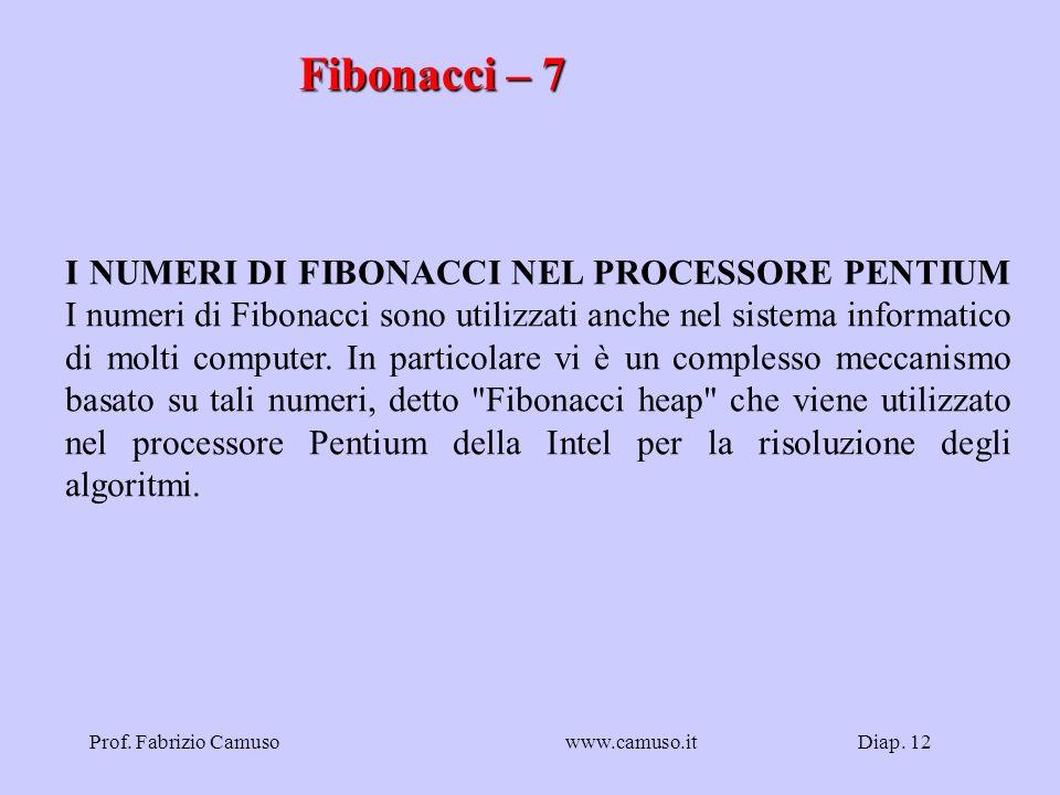 Diap. 12Prof. Fabrizio Camusowww.camuso.it Fibonacci – 7 I NUMERI DI FIBONACCI NEL PROCESSORE PENTIUM I numeri di Fibonacci sono utilizzati anche nel