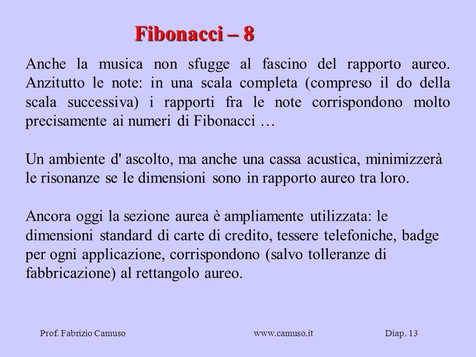 Diap. 13Prof. Fabrizio Camusowww.camuso.it Fibonacci – 8 Anche la musica non sfugge al fascino del rapporto aureo. Anzitutto le note: in una scala com