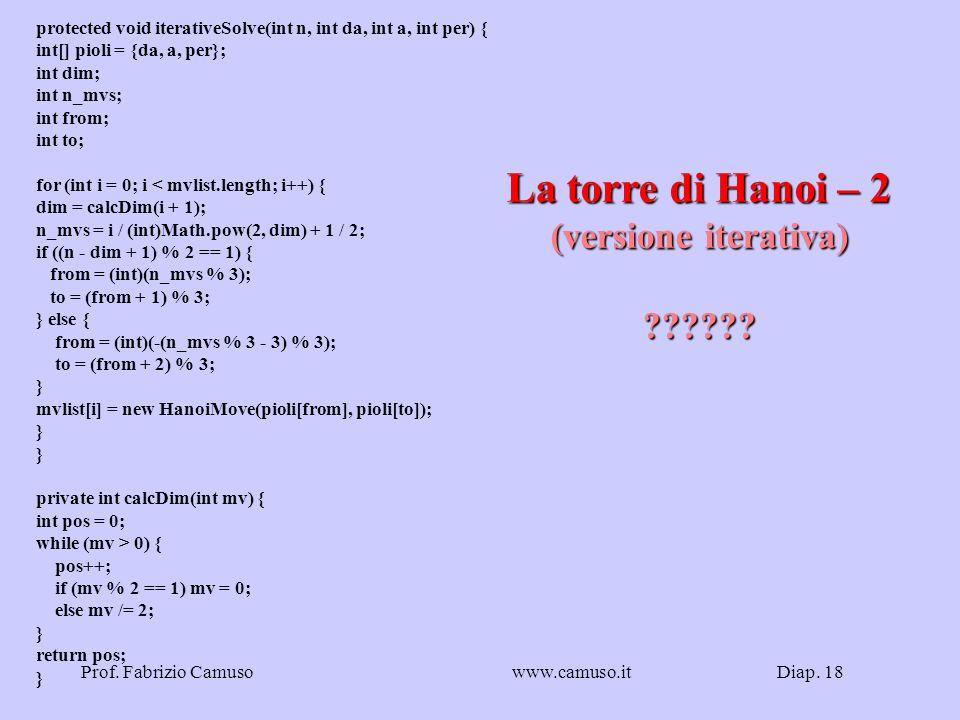 Diap. 18Prof. Fabrizio Camusowww.camuso.it La torre di Hanoi – 2 (versione iterativa) ?????? protected void iterativeSolve(int n, int da, int a, int p