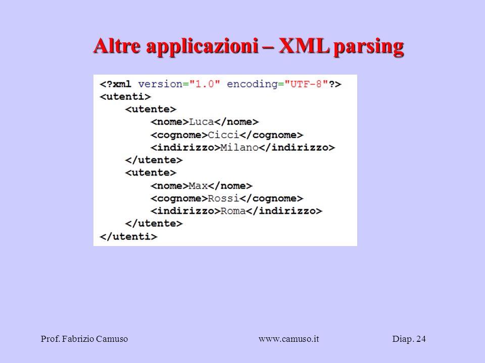 Diap. 24Prof. Fabrizio Camusowww.camuso.it Altre applicazioni – XML parsing