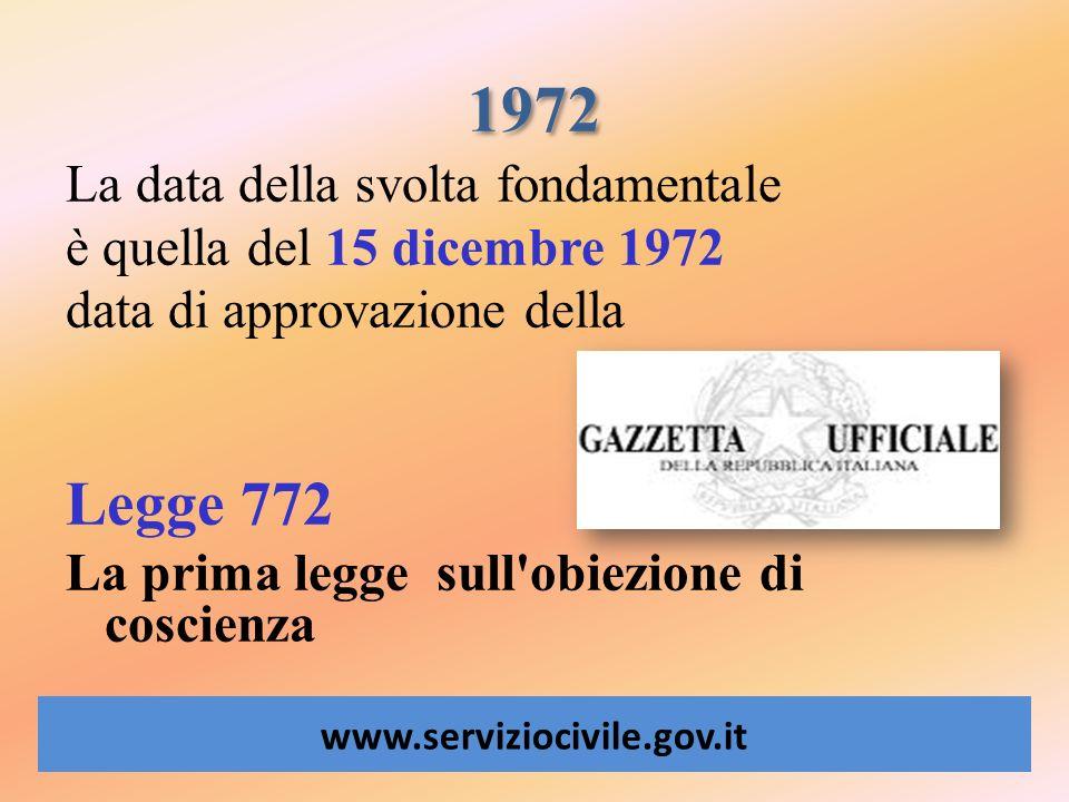 1972 www.serviziocivile.gov.it La data della svolta fondamentale è quella del 15 dicembre 1972 data di approvazione della Legge 772 La prima legge sul