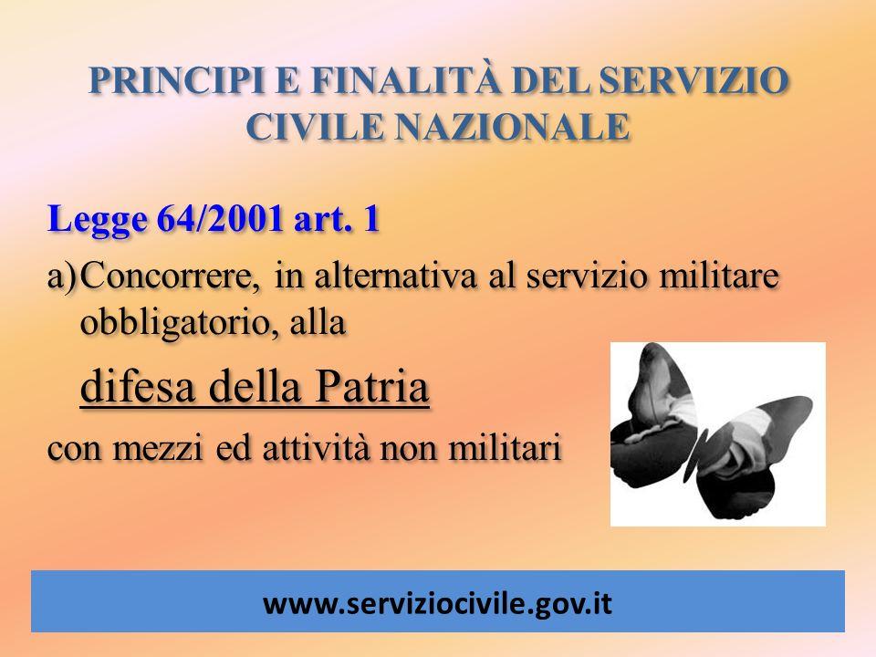 PRINCIPI E FINALITÀ DEL SERVIZIO CIVILE NAZIONALE www.serviziocivile.gov.it Legge 64/2001 art. 1 a)Concorrere, in alternativa al servizio militare obb