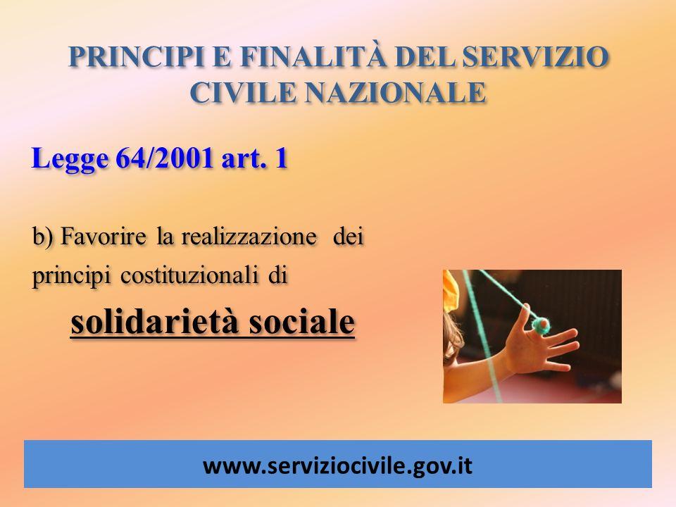 PRINCIPI E FINALITÀ DEL SERVIZIO CIVILE NAZIONALE www.serviziocivile.gov.it Legge 64/2001 art. 1 b) Favorire la realizzazione dei principi costituzion