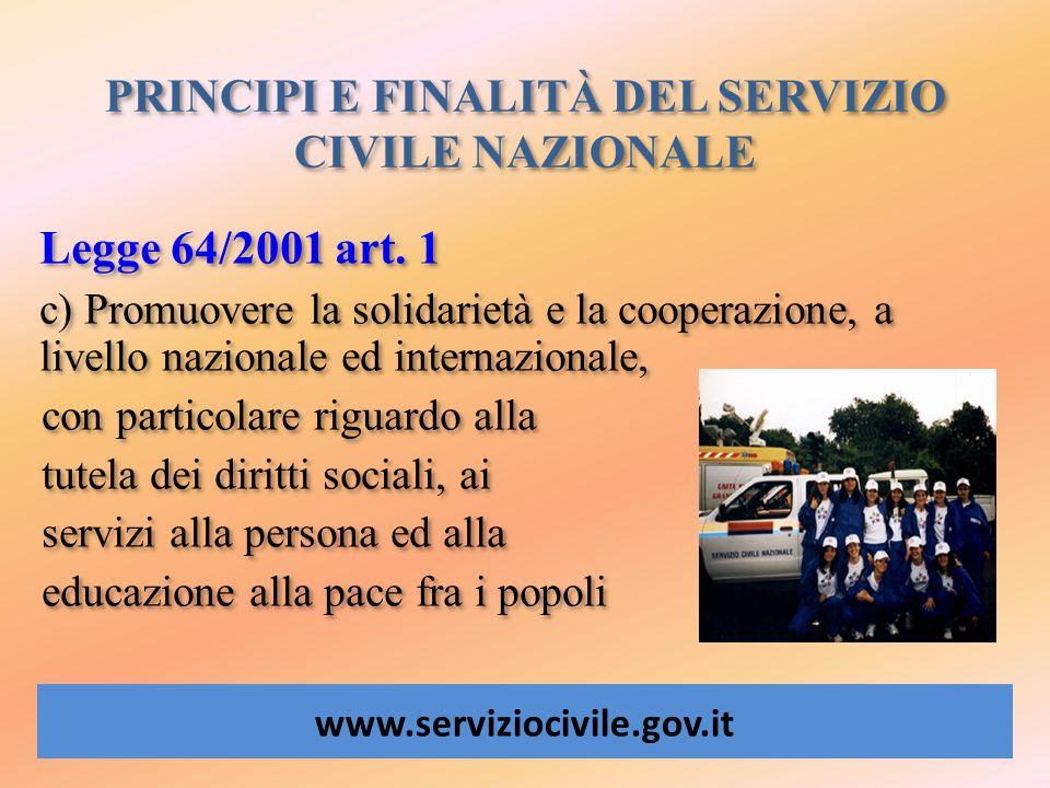 PRINCIPI E FINALITÀ DEL SERVIZIO CIVILE NAZIONALE www.serviziocivile.gov.it Legge 64/2001 art. 1 c) Promuovere la solidarietà e la cooperazione, a liv