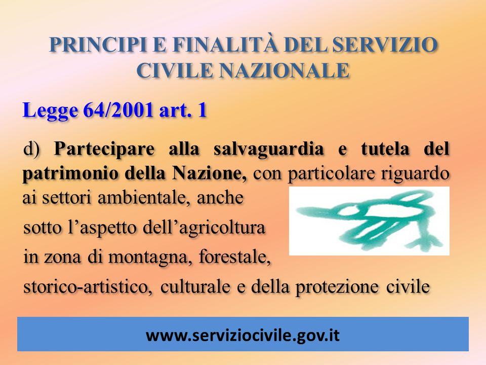 PRINCIPI E FINALITÀ DEL SERVIZIO CIVILE NAZIONALE www.serviziocivile.gov.it Legge 64/2001 art. 1 d) Partecipare alla salvaguardia e tutela del patrimo