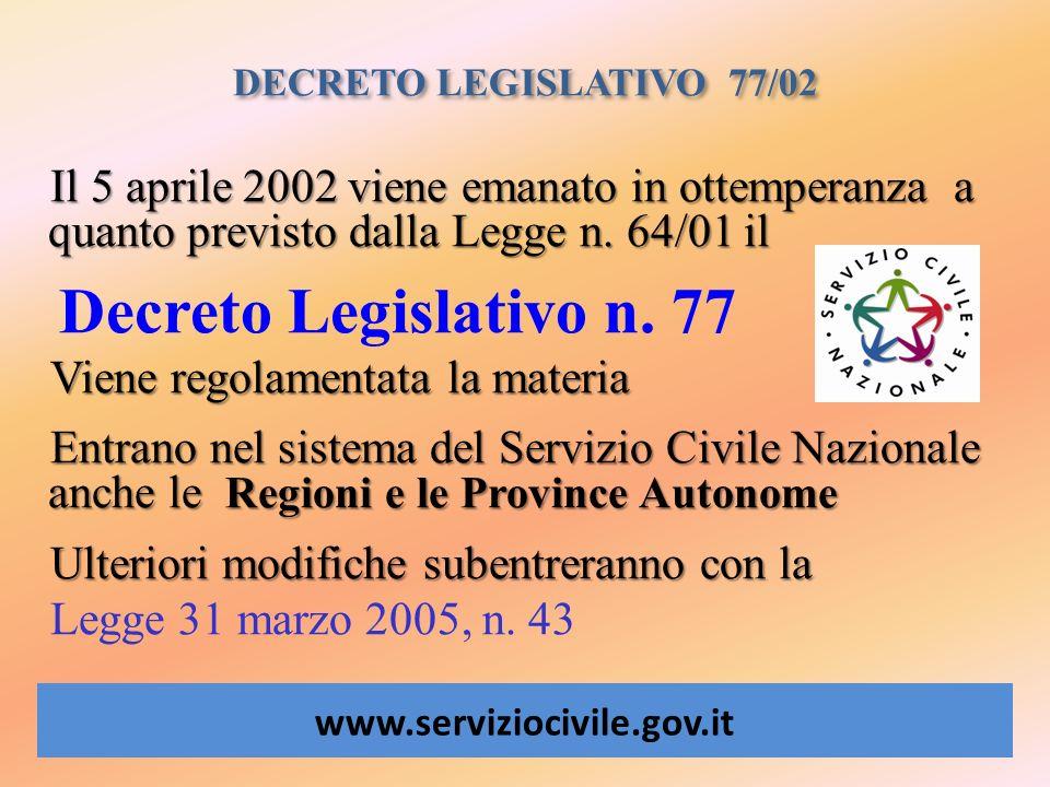 DECRETO LEGISLATIVO 77/02 www.serviziocivile.gov.it Il 5 aprile 2002 viene emanato in ottemperanza a quanto previsto dalla Legge n. 64/01 il Decreto L