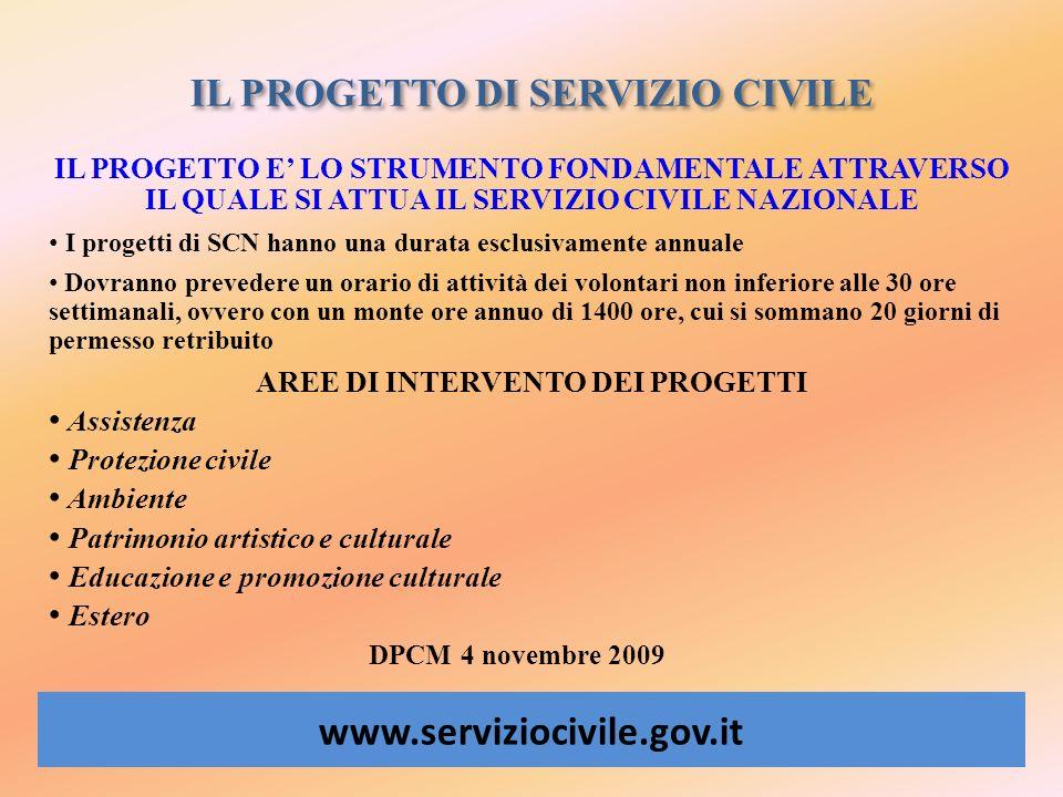 IL PROGETTO DI SERVIZIO CIVILE www.serviziocivile.gov.it IL PROGETTO E LO STRUMENTO FONDAMENTALE ATTRAVERSO IL QUALE SI ATTUA IL SERVIZIO CIVILE NAZIO