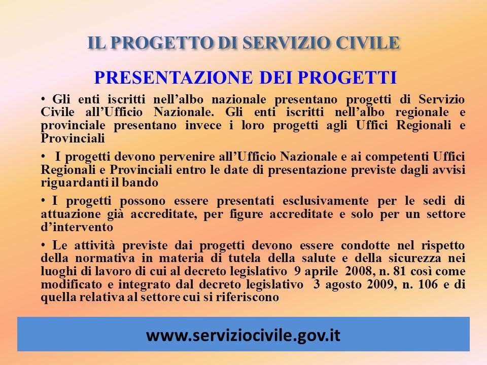 IL PROGETTO DI SERVIZIO CIVILE www.serviziocivile.gov.it PRESENTAZIONE DEI PROGETTI Gli enti iscritti nellalbo nazionale presentano progetti di Serviz
