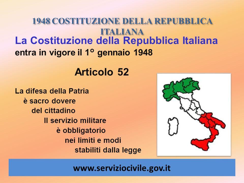 1948 COSTITUZIONE DELLA REPUBBLICA ITALIANA www.serviziocivile.gov.it La Costituzione della Repubblica Italiana entra in vigore il 1° gennaio 1948 Art