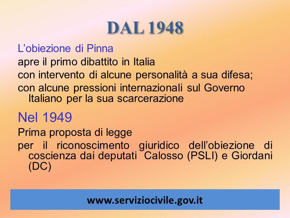 DAL 1948 www.serviziocivile.gov.it Lobiezione di Pinna apre il primo dibattito in Italia con intervento di alcune personalità a sua difesa; con alcune