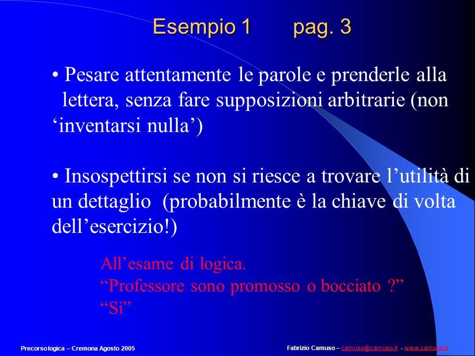 Fabrizio Camuso – camuso@camuso.it - www.camuso.itcamuso@camuso.itwww.camuso.it Precorso logica – Cremona Agosto 2005 Esempio 1 pag. 2 Lerrore più gra