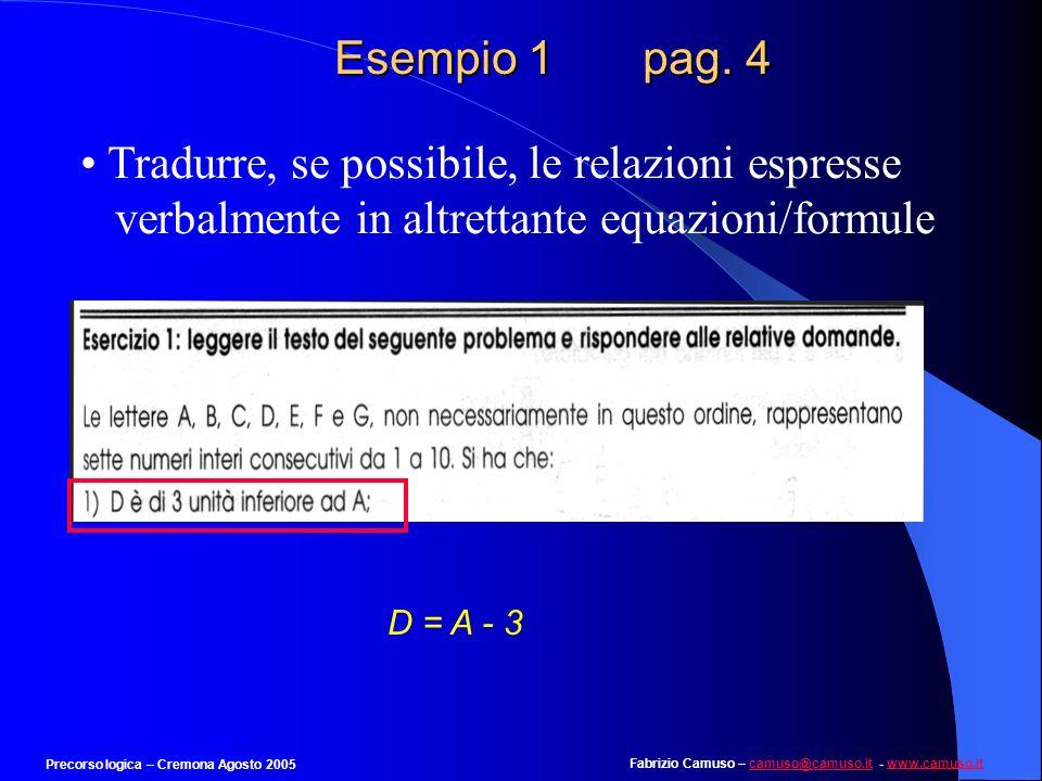 Fabrizio Camuso – camuso@camuso.it - www.camuso.itcamuso@camuso.itwww.camuso.it Precorso logica – Cremona Agosto 2005 Esempio 1 pag. 3 Pesare attentam