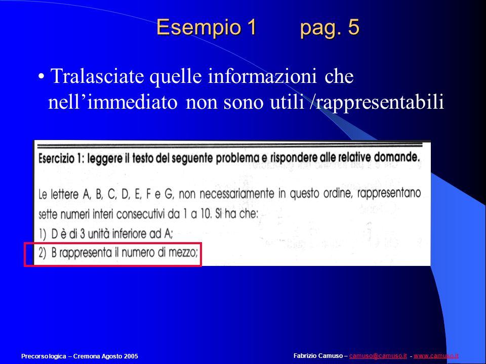 Fabrizio Camuso – camuso@camuso.it - www.camuso.itcamuso@camuso.itwww.camuso.it Precorso logica – Cremona Agosto 2005 Esempio 1 pag. 4 Tradurre, se po