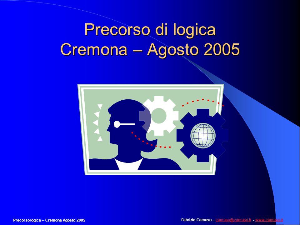 Fabrizio Camuso – camuso@camuso.it - www.camuso.itcamuso@camuso.itwww.camuso.it Precorso logica – Cremona Agosto 2005 Esempio 6 Individuare la coppia di lettere che completa logicamente la seguente serie: AZ BV CU DT ES 1.