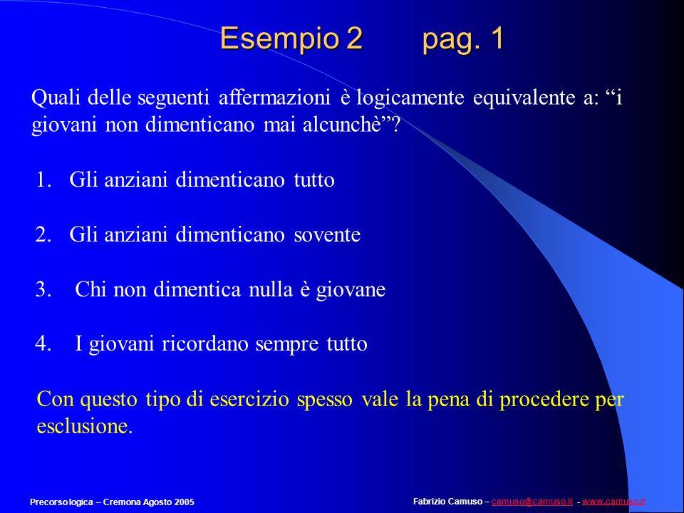 Fabrizio Camuso – camuso@camuso.it - www.camuso.itcamuso@camuso.itwww.camuso.it Precorso logica – Cremona Agosto 2005 Esempio 1 pag. 16 EFDBCAG Il mas