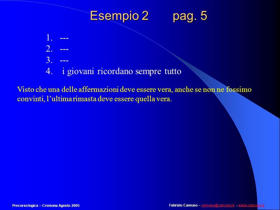 Fabrizio Camuso – camuso@camuso.it - www.camuso.itcamuso@camuso.itwww.camuso.it Precorso logica – Cremona Agosto 2005 Esempio 2 pag. 4 Quali delle seg