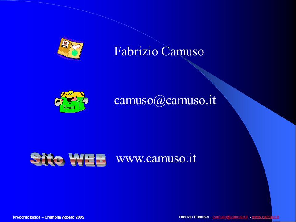 Fabrizio Camuso – camuso@camuso.it - www.camuso.itcamuso@camuso.itwww.camuso.it Precorso logica – Cremona Agosto 2005 Esempio 7 Individuare il numero mancante nella seguente serie: 27 64 … 216 a) 98 b) 125 c) 81 d) 256 e) 49 E la serie dei cubi: 27 è 3 3, 64 è 4 3, 216 è 6 3.Quello mancante è il cubo di 5: 125.