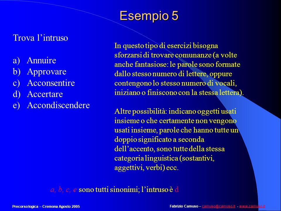 Fabrizio Camuso – camuso@camuso.it - www.camuso.itcamuso@camuso.itwww.camuso.it Precorso logica – Cremona Agosto 2005 Esempio 4 pag. 5 Individuare la