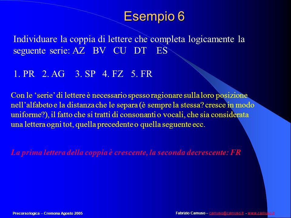 Fabrizio Camuso – camuso@camuso.it - www.camuso.itcamuso@camuso.itwww.camuso.it Precorso logica – Cremona Agosto 2005 Esempio 5 Trova lintruso a) Annu