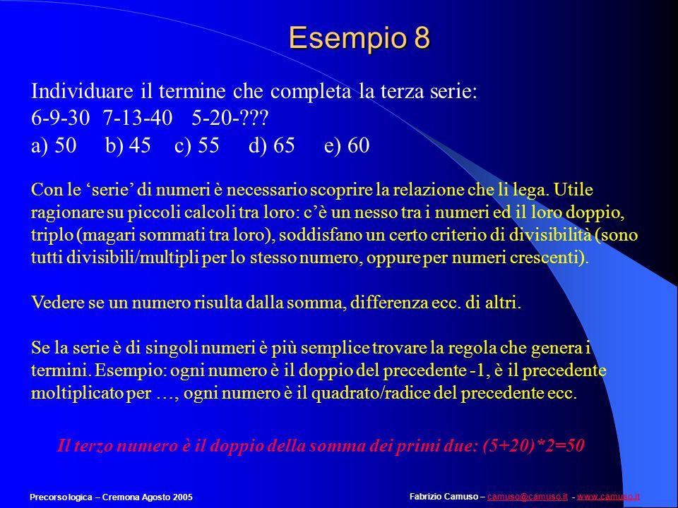 Fabrizio Camuso – camuso@camuso.it - www.camuso.itcamuso@camuso.itwww.camuso.it Precorso logica – Cremona Agosto 2005 Esempio 7 Individuare il numero