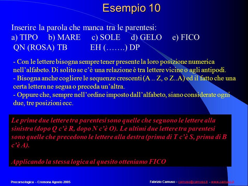 Fabrizio Camuso – camuso@camuso.it - www.camuso.itcamuso@camuso.itwww.camuso.it Precorso logica – Cremona Agosto 2005 Esempio 9 Individuare la rispost