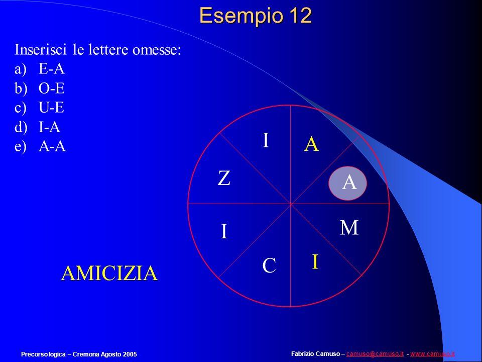 Fabrizio Camuso – camuso@camuso.it - www.camuso.itcamuso@camuso.itwww.camuso.it Precorso logica – Cremona Agosto 2005 Esempio 11 Individua limmagine c