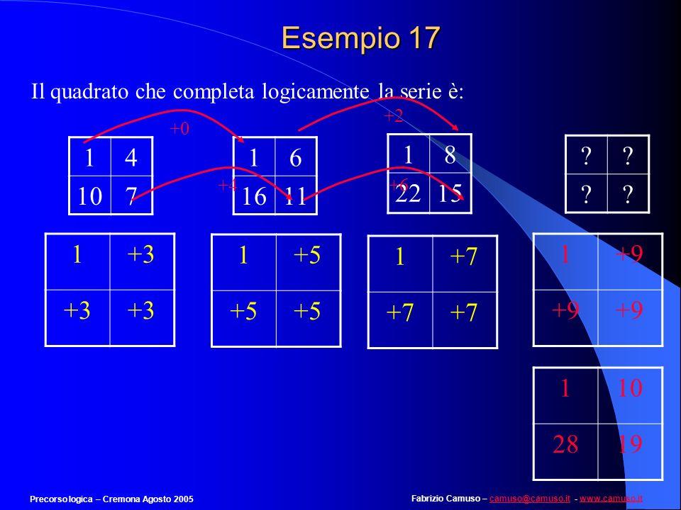 Fabrizio Camuso – camuso@camuso.it - www.camuso.itcamuso@camuso.itwww.camuso.it Precorso logica – Cremona Agosto 2005 Esempio 16 Completare quanto seg