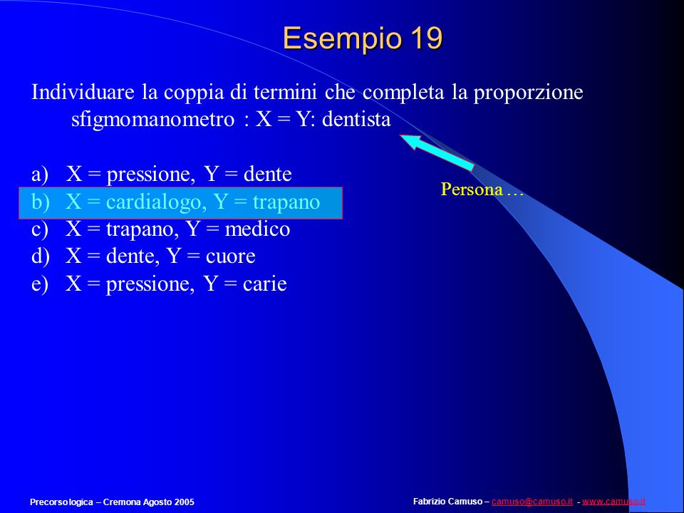 Fabrizio Camuso – camuso@camuso.it - www.camuso.itcamuso@camuso.itwww.camuso.it Precorso logica – Cremona Agosto 2005 Esempio 18 Individuare il numero