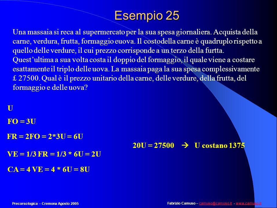 Fabrizio Camuso – camuso@camuso.it - www.camuso.itcamuso@camuso.itwww.camuso.it Precorso logica – Cremona Agosto 2005 Esempio 24 Individuare il numero