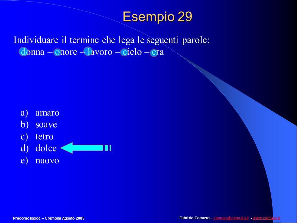 Fabrizio Camuso – camuso@camuso.it - www.camuso.itcamuso@camuso.itwww.camuso.it Precorso logica – Cremona Agosto 2005 Esempio 28 Individuare la parola