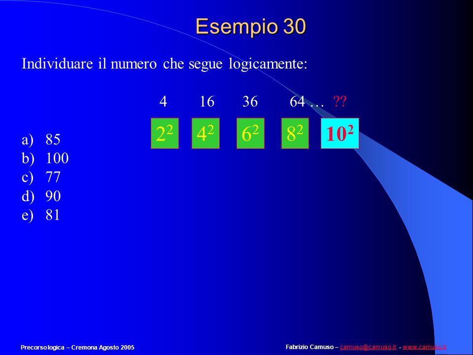 Fabrizio Camuso – camuso@camuso.it - www.camuso.itcamuso@camuso.itwww.camuso.it Precorso logica – Cremona Agosto 2005 Esempio 29 Individuare il termin