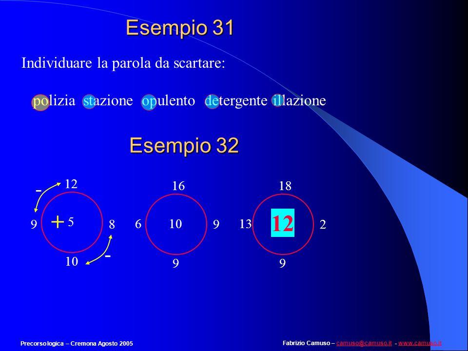 Fabrizio Camuso – camuso@camuso.it - www.camuso.itcamuso@camuso.itwww.camuso.it Precorso logica – Cremona Agosto 2005 Esempio 30 Individuare il numero