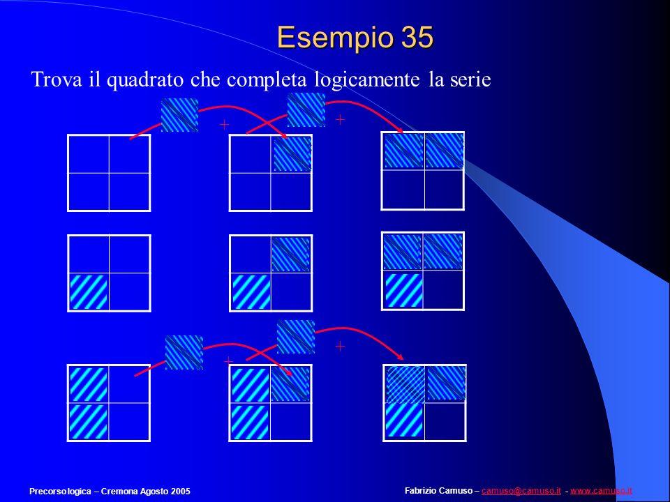 Fabrizio Camuso – camuso@camuso.it - www.camuso.itcamuso@camuso.itwww.camuso.it Precorso logica – Cremona Agosto 2005 Esempio 34 Individuare la rispos