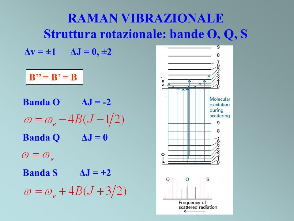 Struttura rotazionale: bande O, Q, S Banda O ΔJ = -2 Banda Q ΔJ = 0 Banda S ΔJ = +2 Δv = ±1 ΔJ = 0, ±2 B = B = B