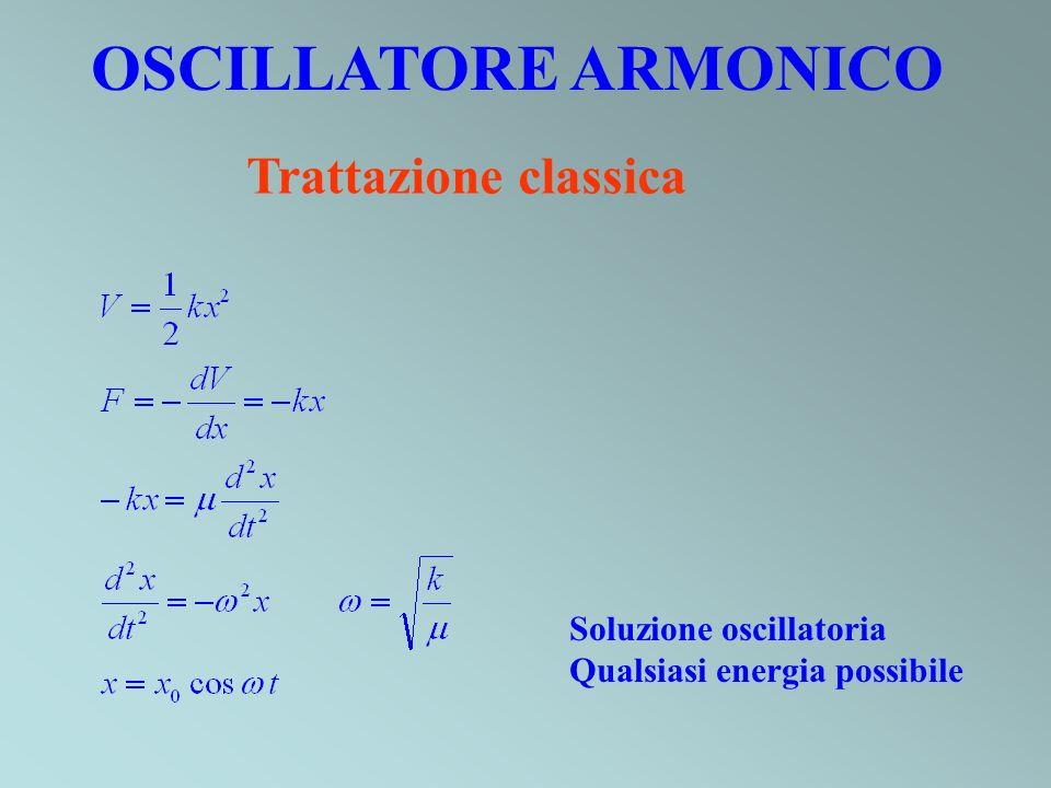 OSCILLATORE ARMONICO Trattazione classica Soluzione oscillatoria Qualsiasi energia possibile