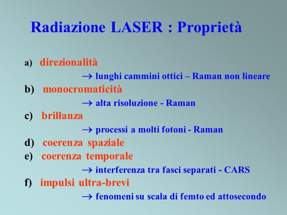 Radiazione LASER : Proprietà a) direzionalità lunghi cammini ottici – Raman non lineare b) monocromaticità alta risoluzione - Raman c) brillanza processi a molti fotoni - Raman d) coerenza spaziale e) coerenza temporale interferenza tra fasci separati - CARS f) impulsi ultra-brevi fenomeni su scala di femto ed attosecondo