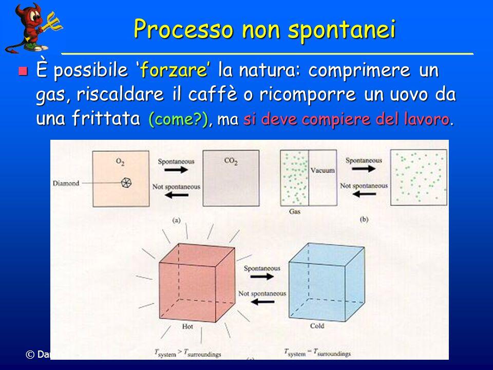 © Dario Bressanini Processo non spontanei È possibile forzare la natura: comprimere un gas, riscaldare il caffè o ricomporre un uovo da una frittata (