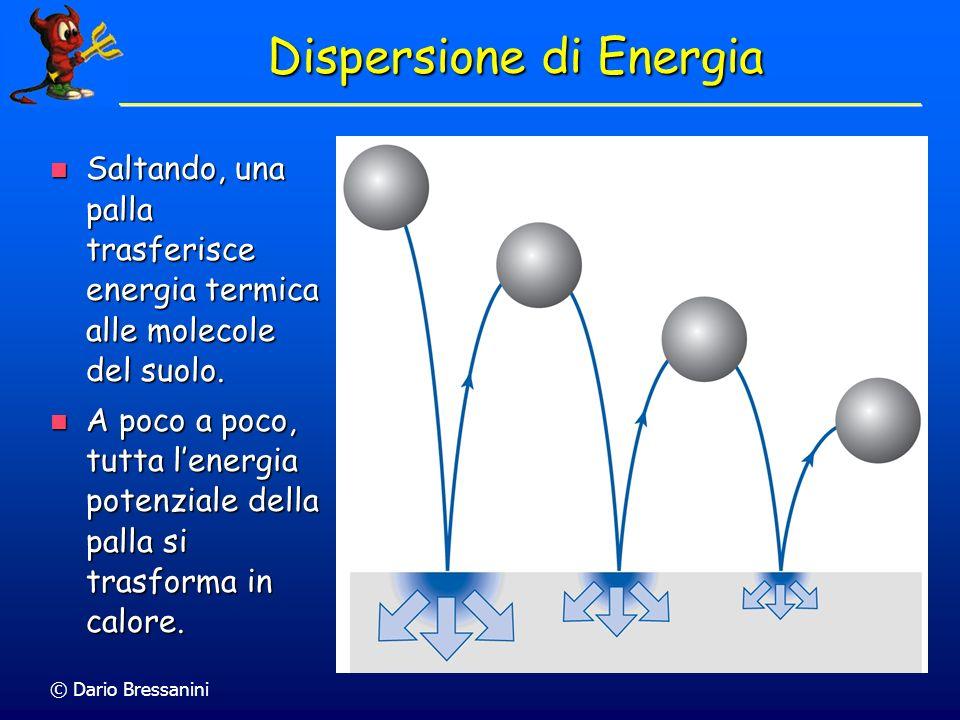 © Dario Bressanini Dispersione di Energia Saltando, una palla trasferisce energia termica alle molecole del suolo. Saltando, una palla trasferisce ene