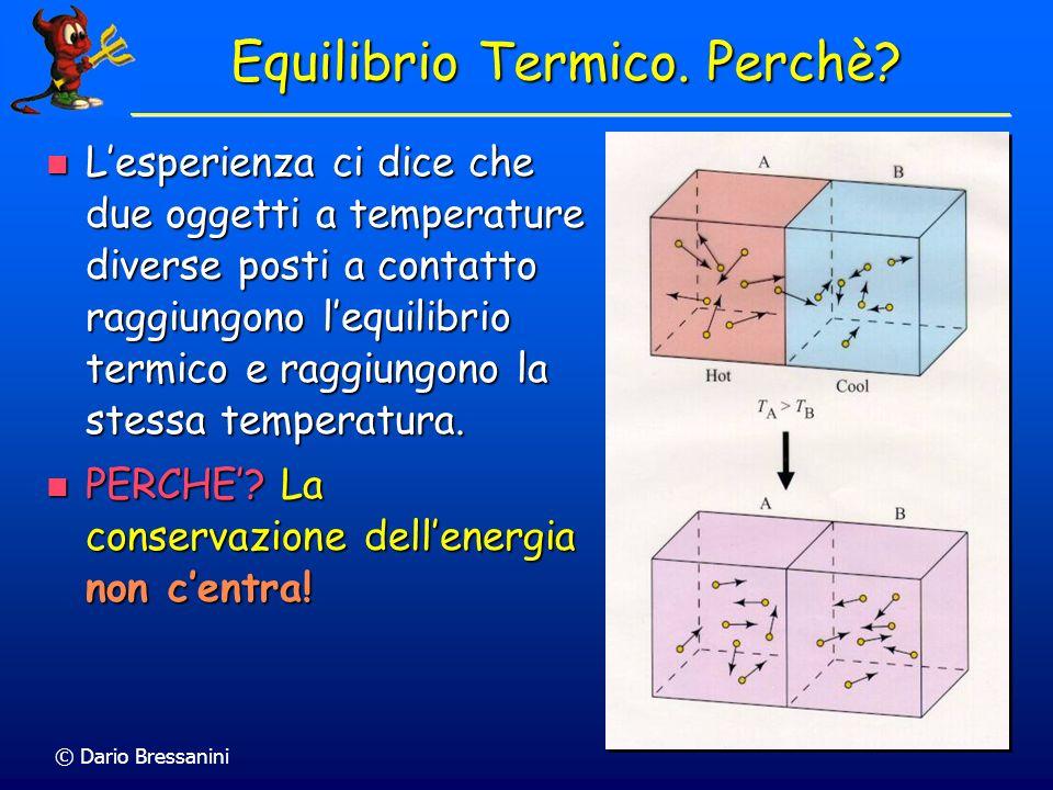 © Dario Bressanini Lesperienza ci dice che due oggetti a temperature diverse posti a contatto raggiungono lequilibrio termico e raggiungono la stessa