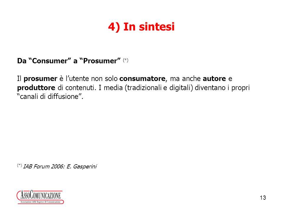 13 4) In sintesi Da Consumer a Prosumer (*) Il prosumer è lutente non solo consumatore, ma anche autore e produttore di contenuti.