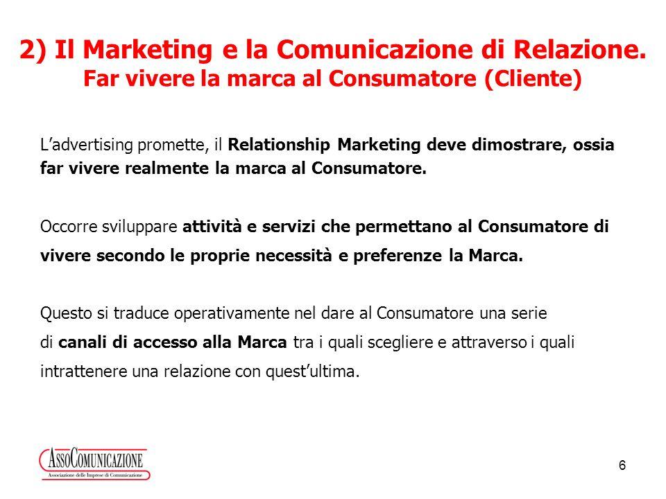 6 Ladvertising promette, il Relationship Marketing deve dimostrare, ossia far vivere realmente la marca al Consumatore.