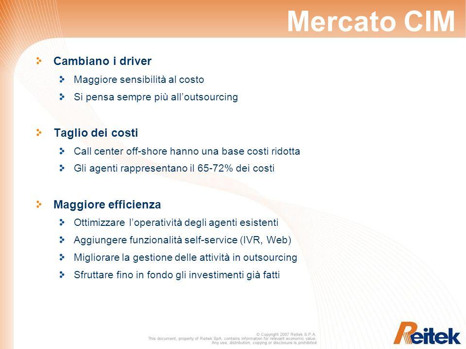 Mercato CIM Cambiano i driver Maggiore sensibilità al costo Si pensa sempre più alloutsourcing Taglio dei costi Call center off-shore hanno una base c