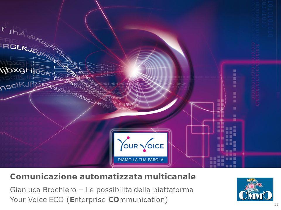 Comunicazione automatizzata multicanale Gianluca Brochiero – Le possibilità della piattaforma Your Voice ECO (Enterprise COmmunication) 11