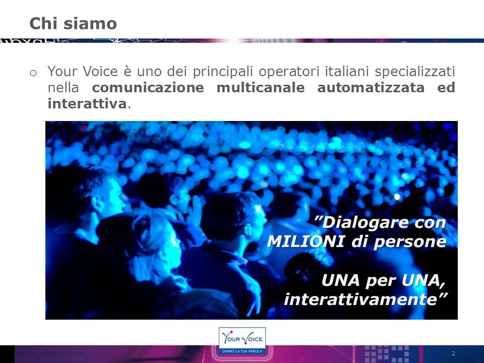 Chi siamo o Your Voice è uno dei principali operatori italiani specializzati nella comunicazione multicanale automatizzata ed interattiva. 2 Dialogare