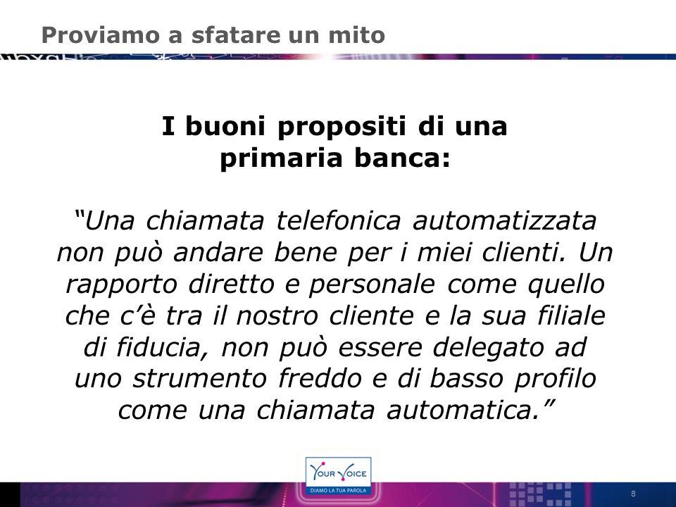 Proviamo a sfatare un mito 8 I buoni propositi di una primaria banca: Una chiamata telefonica automatizzata non può andare bene per i miei clienti. Un
