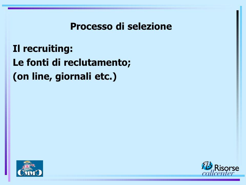 Il recruiting: Le fonti di reclutamento; (on line, giornali etc.) Processo di selezione